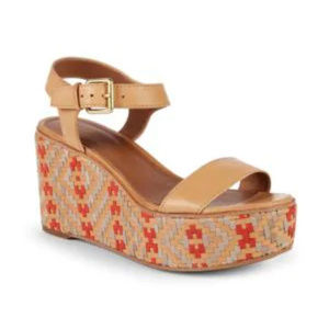 New Frye Heather Woven Leather Wedge Sandals